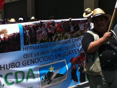 """Aniseto at the 2013 May Day March in Guatemala City. His convictions drove him to work for justice and dignity in Guatemala. """"Yes, there was a genocide in Guatemala."""""""