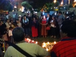 Rigoberta Menchu speaks to families of the victims of the 1980 Spanish Embassy burning and their supporters after hearing the guilty verdict against former police head, Pedro Garcia Arrendondo.