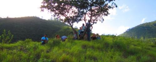 Walking to Pacoxom, site of the 1982 massacre against 177 Maya Achi women and children.