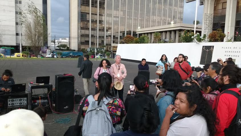 Ada Valenzuela, of UNAMG, speaks outside the courthouse following the guilty verdict.