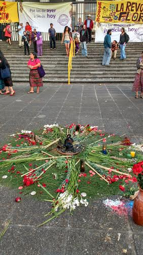 Flowers are part of the ceremony held outside the courthouse where the Sepur Zarco trial came to its conclusions.