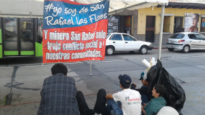 "A sign reads: ""I am from San Rafael Las Flores and the mine only brought social conflict to our communities."" - Contributed"