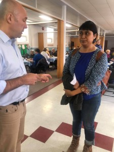 BTS Maritimes Coordinator Stacey Gomez speaking to MP Andy Fillmore on Bill C-97 (May 11, 2019)